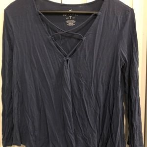American Eagle Outfitters Tops - AEO Soft Tee-navy blue